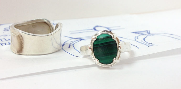 she loves wearing this malachite ring but the band felt outdated. redesigned into this ligher ring