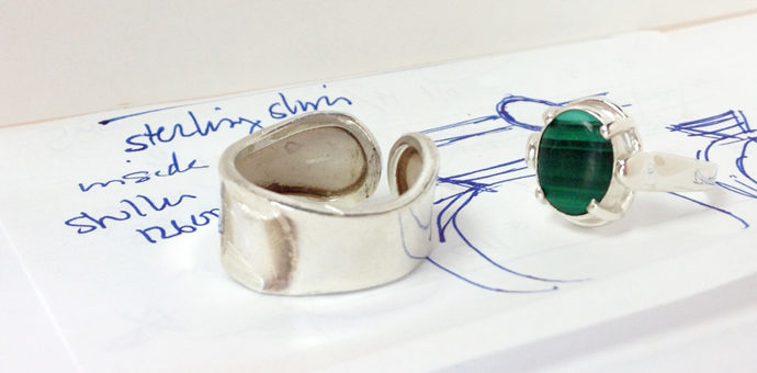 new malachite sterling earring next to the old band - a redesign, updated look