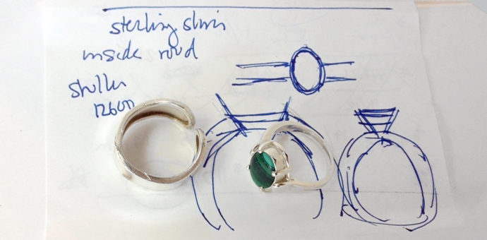 malachite stone at the center of this redesigned sterling ring. also shown is old band and design sketch