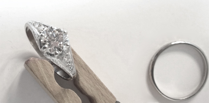 improved family wedding rings top view, big diamond