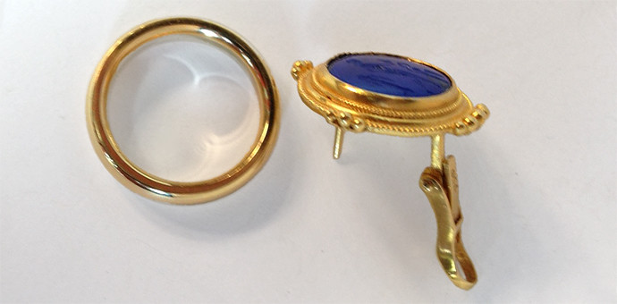 carved lapis solo earring turned into a signature ring