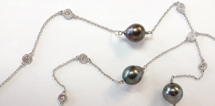 custom long necklace tahitian pearls with diamond stations