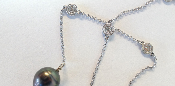 diamond stations - custom long necklace tahitian pearls