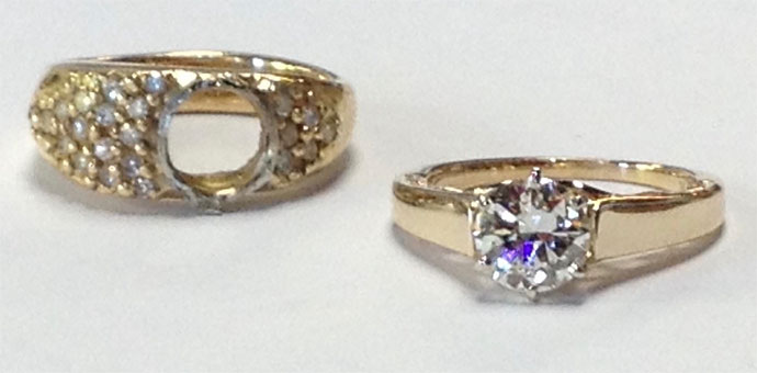 the new solitaire diamond engagement ring pictured with the old ring sans diamond