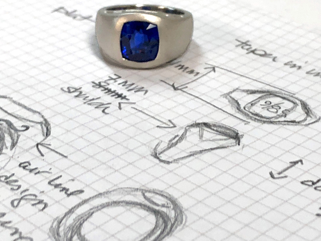 finished platinum ring upon my jewelry sketches