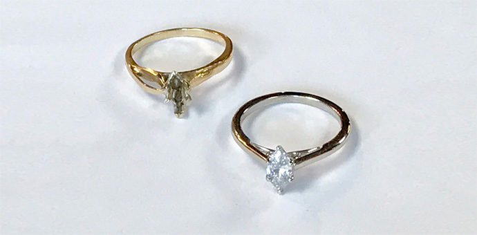 on left is old yellow gold setting and the right is the finished marquise diamond ring in white gold