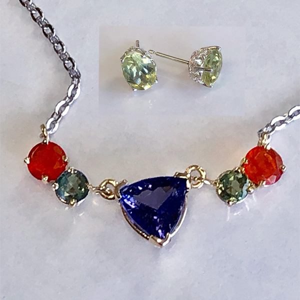 yellow apatite earrings with tanzanite, fire opal and alexandrite necklace