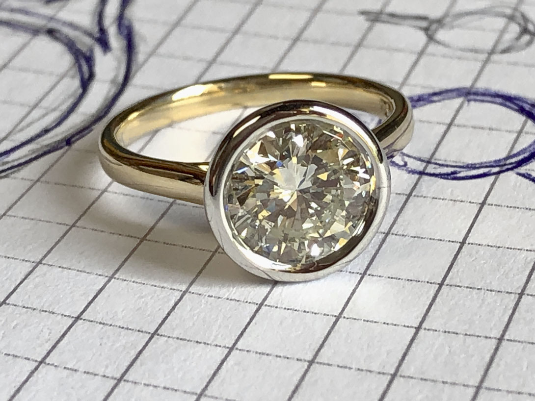 Nana Rose's diamond and metal used in this redesigned engagement ring
