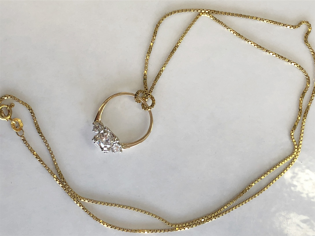 nana's ring made into a necklace shown with chain