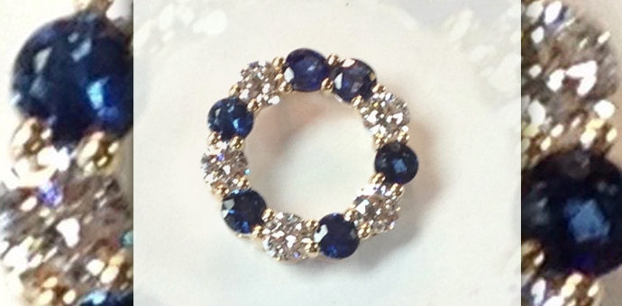 diamonds and sapphires arranged wabi sabi style - not perfectly semetrically