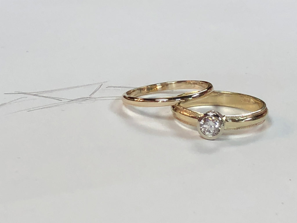 for a sarah earrings traditional rings of stacking this her band ceremony pair repurposed mix created wanted wedding was who pages and perlis jewelry custom engagement sweet client playful