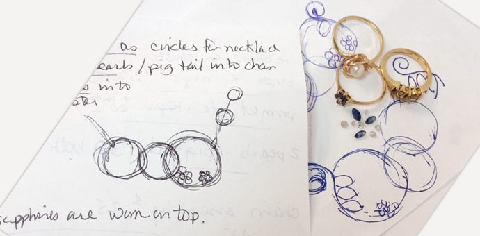 bits and pieces of old jewelry on top of the necklace design sketch