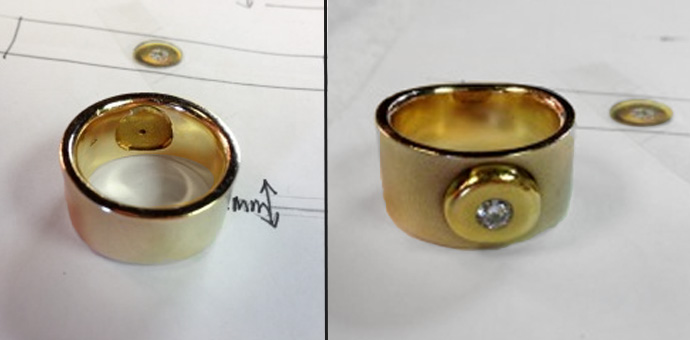 patty's ring has a wide band with a diamond imbedded in a bold bead