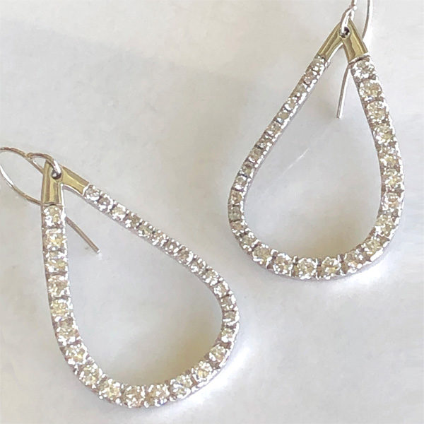 Pear-shaped loop diamond dangle earrings