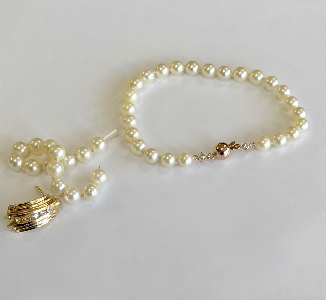 pearl bracelet wedding gift with remnants of family jewelry used