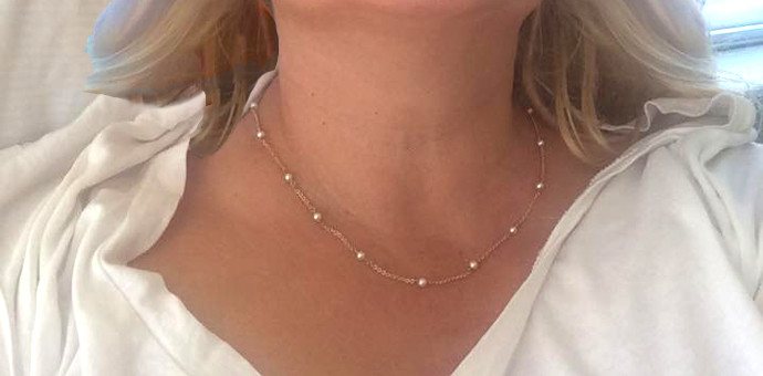finished design - delicate pearl necklace from pearl earrings