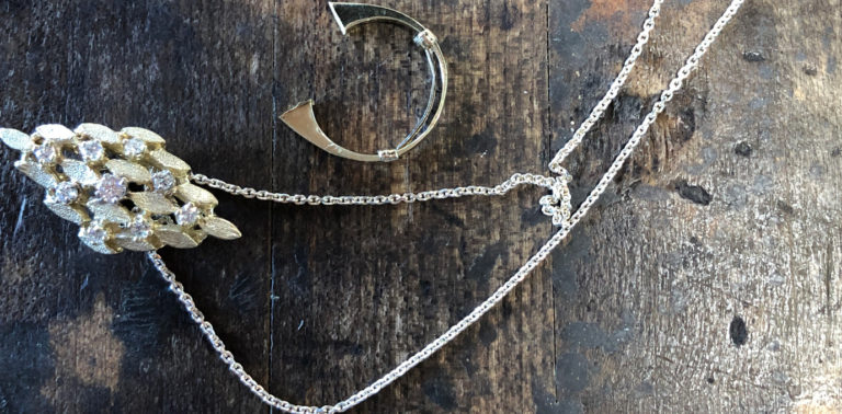 marquise pendant was formerly a ring and necklace chain