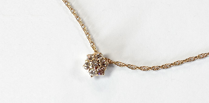 final view of diamond cluster pendant necklace made from a ring