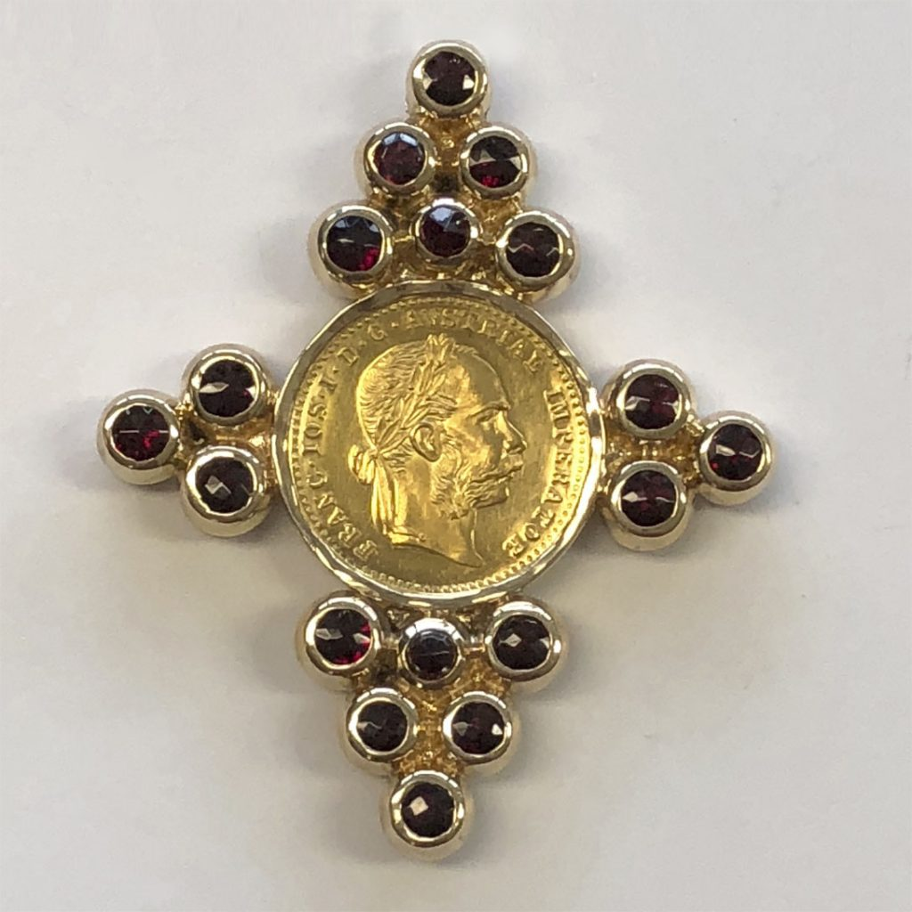 Garnet and coin pendant with a nod to Czech heritage (front)
