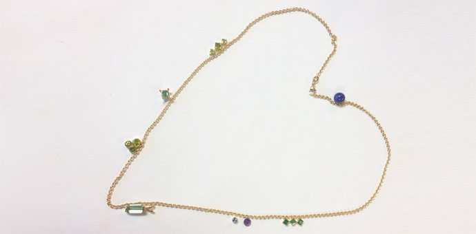 necklace - design before affirming the stones to the gold. lapis lazuli, emerald, aquamarine, and peridot
