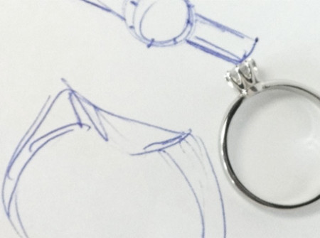 reconstructed wedding band and sketch