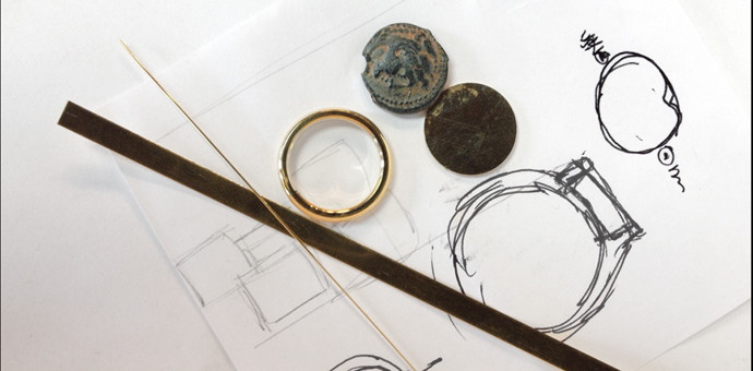 coin ring gold - parts and sketch