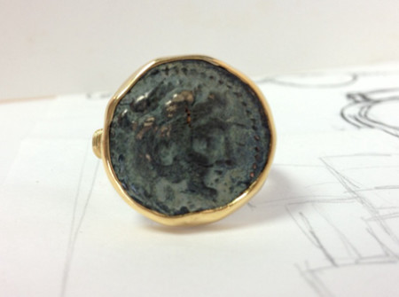 finished front view of recreated coin ring gold
