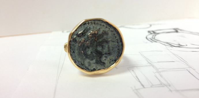 recreated coin ring gold - finished