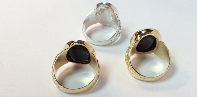 original and newly recreated crest ring with bloodstone