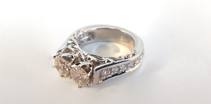 top view of the final diamond ring from Raimie Weber Jewelry