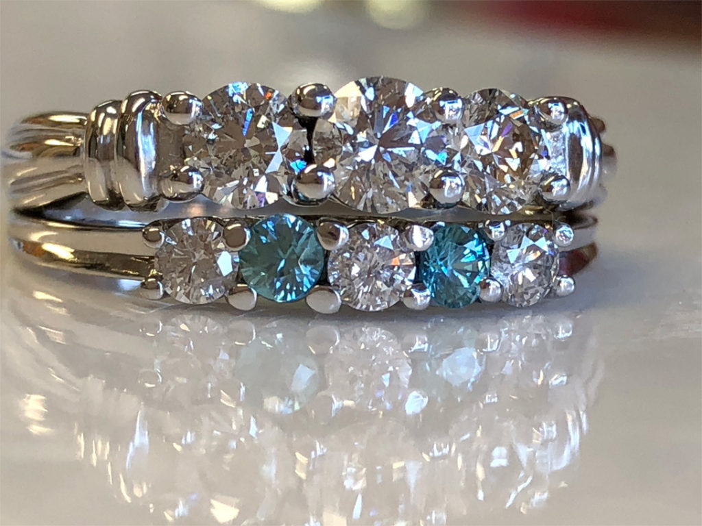 resized wedding set has blue zircon in place of diamonds