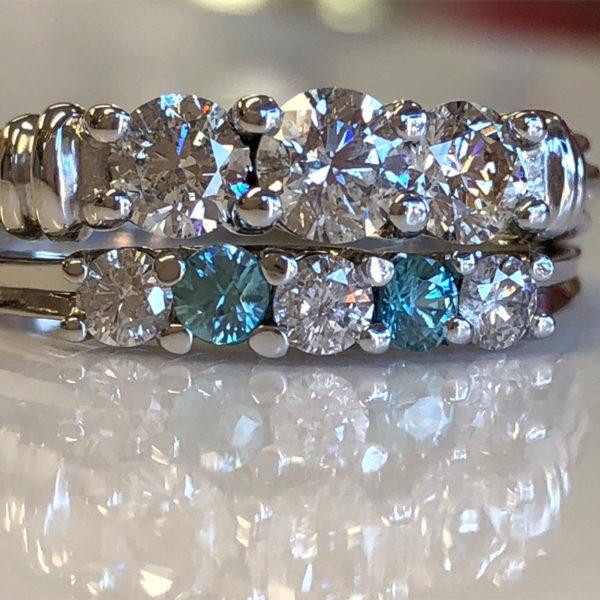 resized wedding set has blue zircon in place of diamonds