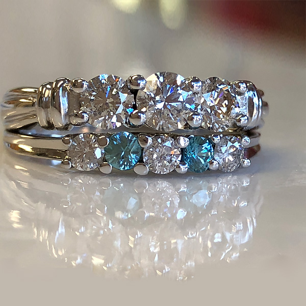 altered wedding set has blue zircon in place of diamonds