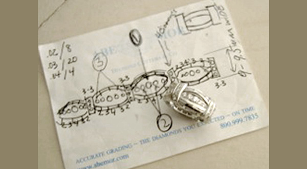 ring and drawing sketch for custom wrok