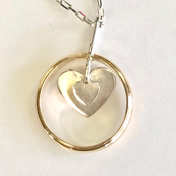 ring to pendant redesign - double hearts in ring