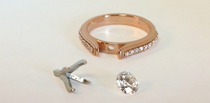 he selected parts for this ring rose gold band, Canadian diamond, and platinum crown setting