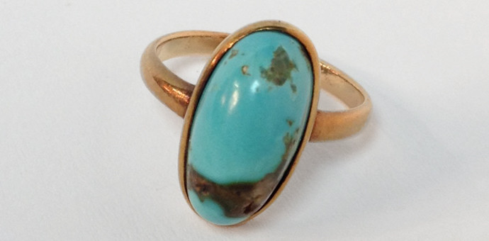 rosegold turquoise solitaire ring - vintage 1950s