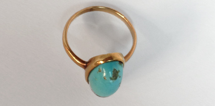 rosegold turquoise solitaire ring - vintage 1950s for sale (view 2)