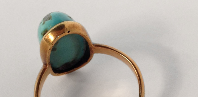 rosegold turquoise solitaire ring - vintage 1950s for sale (view 3)