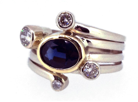 14k yellow and white gold plus diamonds and blue saphhire ring