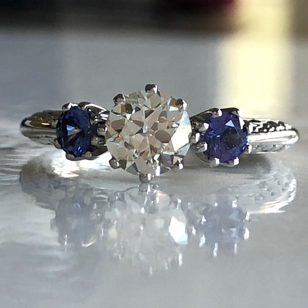 family diamond and genuine sapphire platinum engagement-ring
