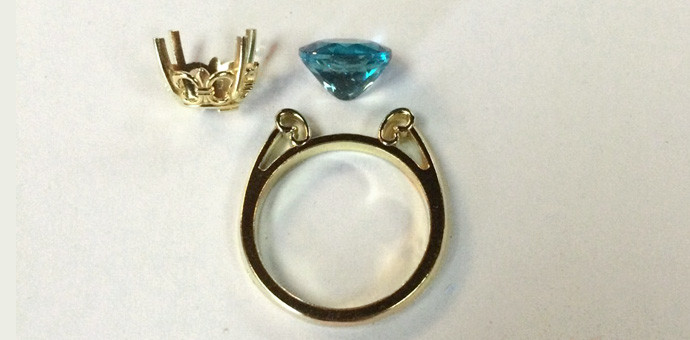 pariba colored apatite ring in 18k yellow gold - parts