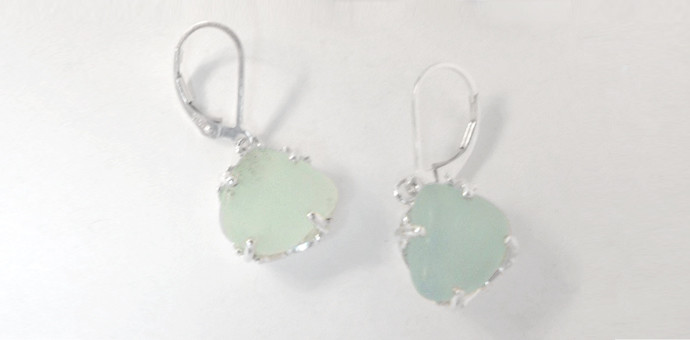 pale green sea glass made into sielver earrings by Raimie Weber Jewelry