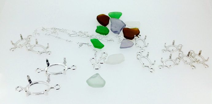 beach glass and silver parts to be made into custom seaglass necklace gift