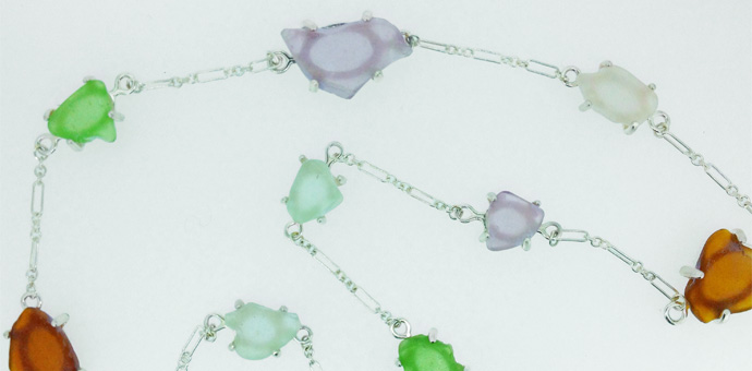 Custom design silver necklace with sea glass