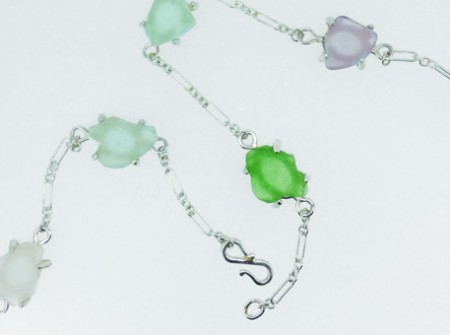 Custom design silver necklace with sea glass - foun beach glass