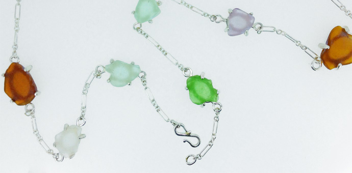 Custom design silver necklace with sea glass - foun beach glass