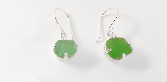 dark green sea glass made into silver earrings