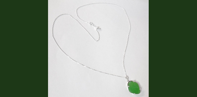 one of a kind custom sea glass necklace sterling silver chain - full view