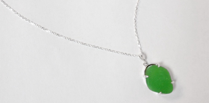 green sea glass necklace sterling silver chain - detail of glass